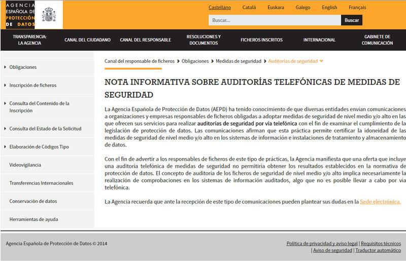 AEPD-NOTA INFORMATIVA SOBRE AUDITORÍAS TELEFÓNICAS DE MEDIDAS DE SEGURIDAD