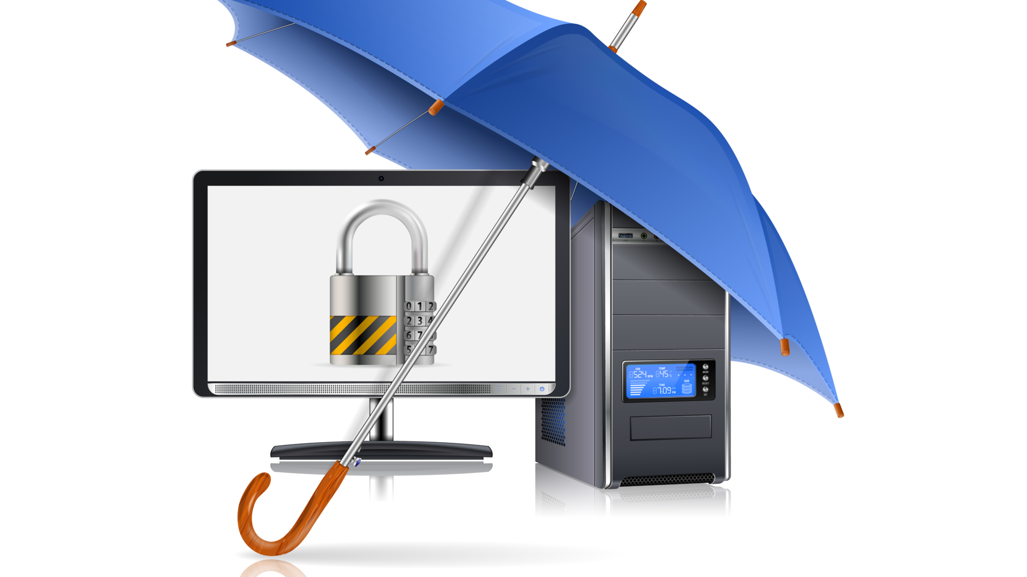 Business concept - Umbrella protects Computer with Lock on Screen, vector illustration